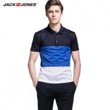 人气5折杰克琼斯夏纯棉条纹撞色POLO衫短袖T恤